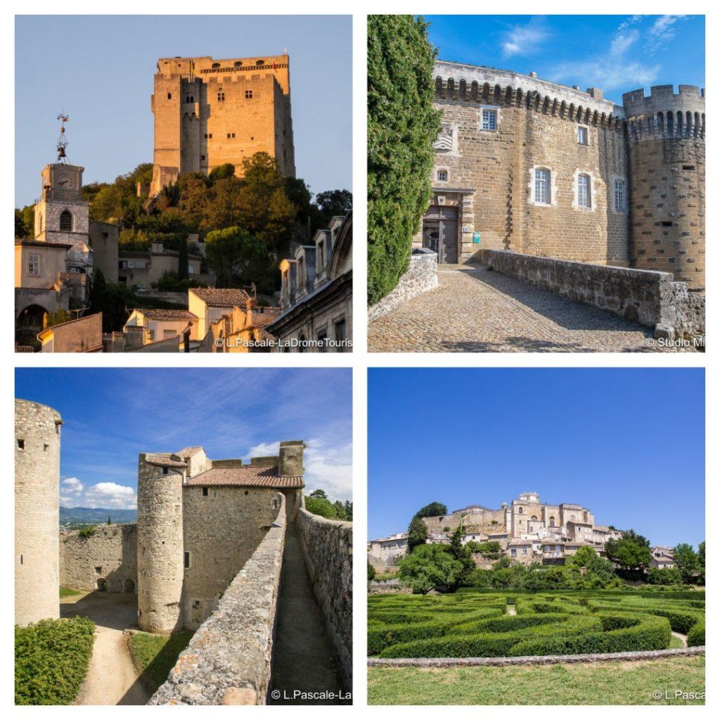 Photos from the left, clockwise: Tour de Crest, L Pascale / Château de Suze-la-Rousse, Studio Mir / Château de Grignan, L. Pascale / Château des Adhémar à Montélimar, L Pascale - all La Drôme Tourisme